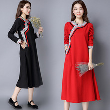 Chinese Style Printing Retro Dress Loose Plus Size Long Sleeve Linen Cotton Casual Women Improved Cheongsam Dresses Red Black