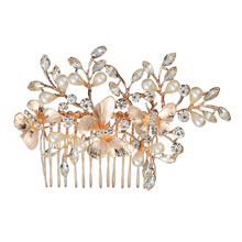 Lady Beautiful Butterfly pearl inlay hair accessories Wedding Party Artificial Pearl Flower Crown Headband Rhinestones Headdress