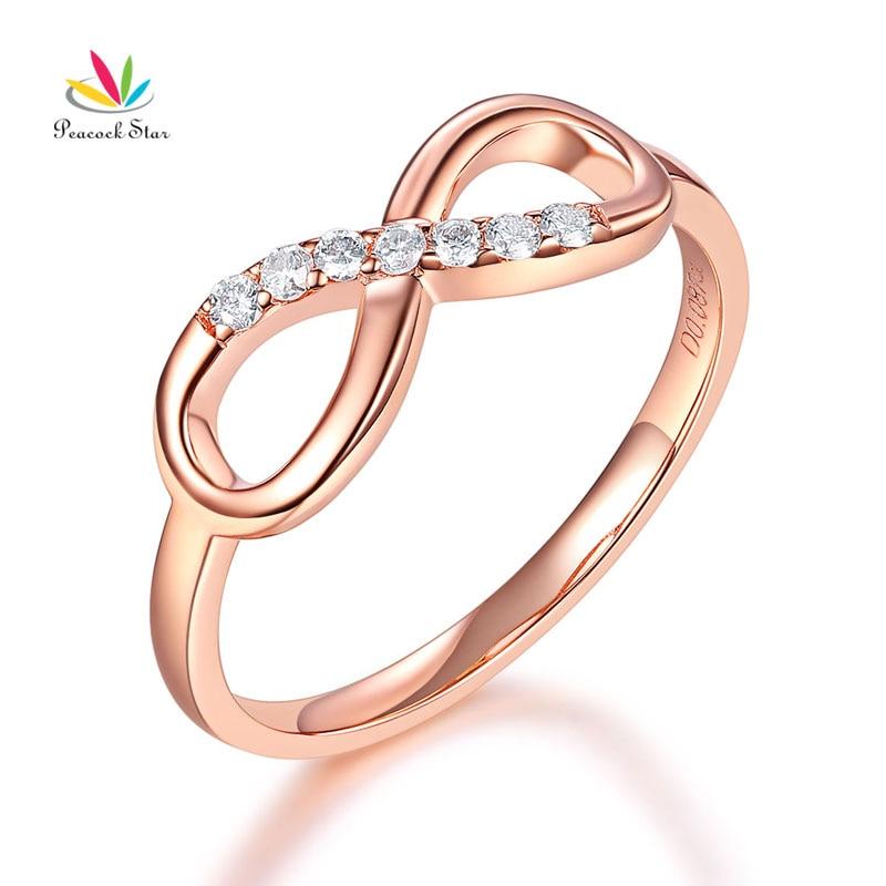 peacock star women 14k rose gold wedding band women ring 008 ct diamond affordable