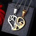 Уникальные отсоединяемые Подвески JUNXIN в форме половины сердца для женщин и мужчин, ожерелья для пар из нержавеющей стали, модные подарки на ...