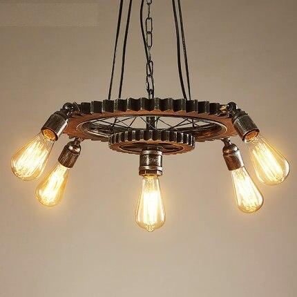 Engrenagem De Madeira em Estilo Loft Criativo Droplight Edison Luminárias Pingente Sala de Jantar Lâmpada Pendurada Iluminação Industrial Do Vintage