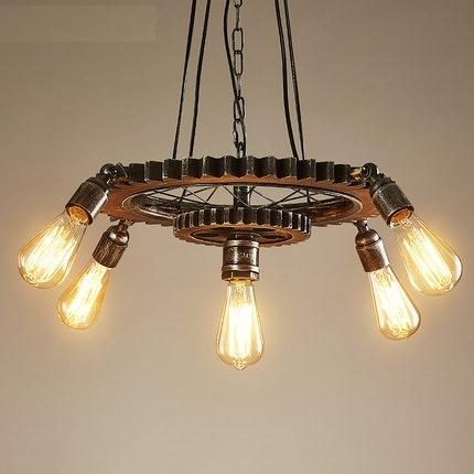 Loft Style créatif bois engrenage Droplight Edison pendentif luminaires salle à manger suspension lampe Vintage industriel éclairage