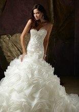 2015 Elegant Sweetheart Beaded Organza Chapel Mermaid Wedding Dress Gown Custom-made Vestido de noiva Dresses