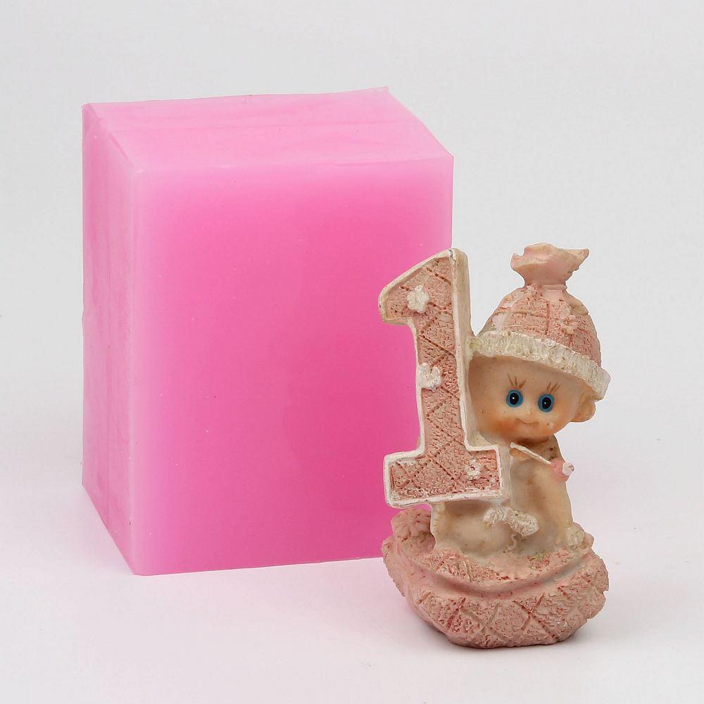 US $18.99  WE001 Siliconen mal 3D Baby 1 jaar verjaardag vorm handgemaakte Hars klei gips decoratie craft schimmel diy fondant cake tools in WE001