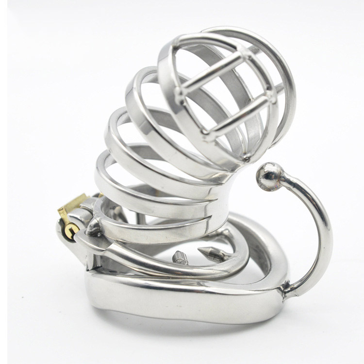 Long Men Cock Ring Stainless Steel Male Chastity Lock Device with Urinary Plug Cock Cage Virginity Lock Penis Ring Penis Lock