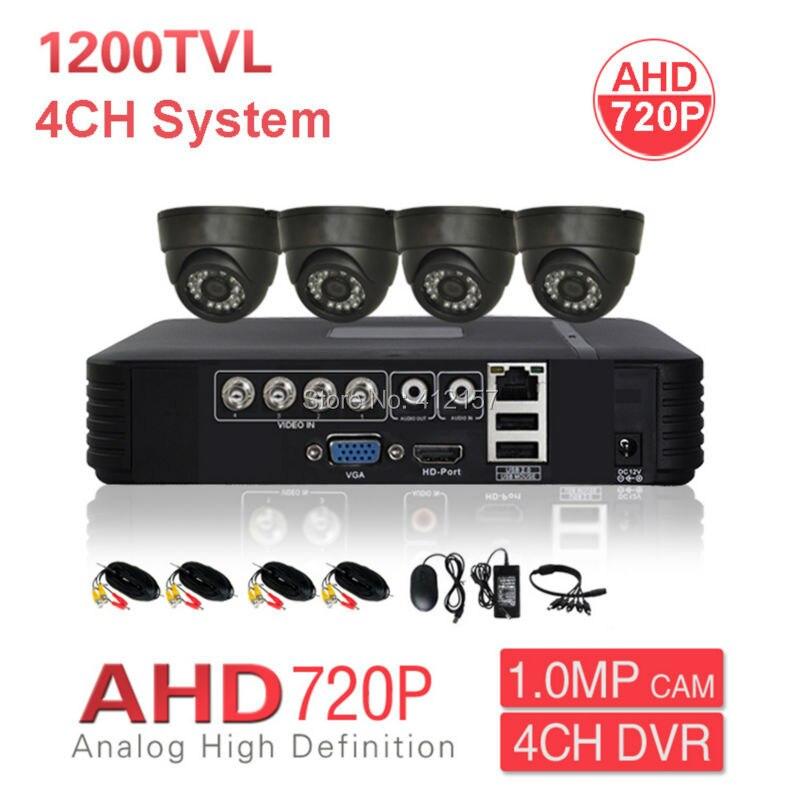 Maison CCTV intérieur AHD 720 P dôme système de caméra de sécurité 4CH HD DVR PC téléphone portable vue à distance P2P 1200TVL Kit de Surveillance vidéo