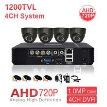 Startseite CCTV Innen AHD 720 P Kuppel Überwachungskamera-system 4CH HD DVR PC Handy Remote View P2P 1200TVL Videoüberwachung Kit
