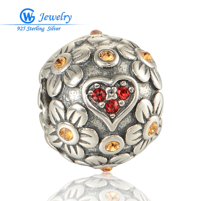 Flower & Heart Silver Charm With Colorful Cubic Zirconia 925 Sterling Silver Beads Fits Bracelet GW Fine Jewelry X374H20