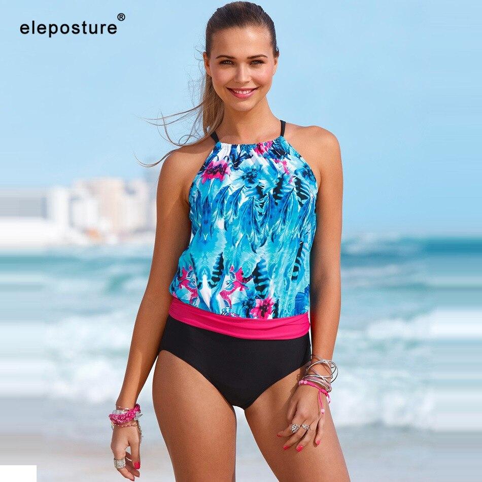 2019 New Tankini Swimsuits Women High Waist Swimsuit Swimwear Vintage Retro Print Bathing Suit Summer Beachwear Swimming Suit XL