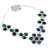 Genunie Emerald + Sapphire Necklace 925 Sterling Silver, 48 cm, MHBNE0152