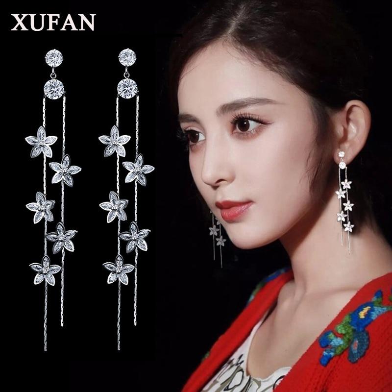 Fashion Cz Flower Tassel Long Dangle Earrings for Women 2018 New Luxury Crystal Drop Earring Party Wedding Jewelry