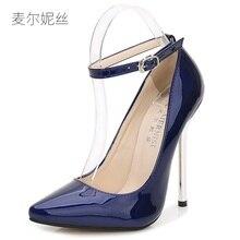 39317d485dc 2018 Plus Size 35-44 13cm Blue Patent Leather Sexy High Heels for Women s  Pumps