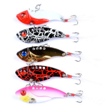 5Pcs/Lot Metal VIB Lures 5.5cm/11g Vivid Vibrations Spoon Lure Fishing Bait Bass Artificial Hard Cicada Baits 3D Eye