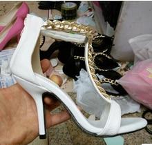 T Metall Ketten Sandalen Frauen Schuhe Mit Hohen Absätzen Mode Einfarbig Pumpen Weiblich Verband Sapatilhas Schuhe