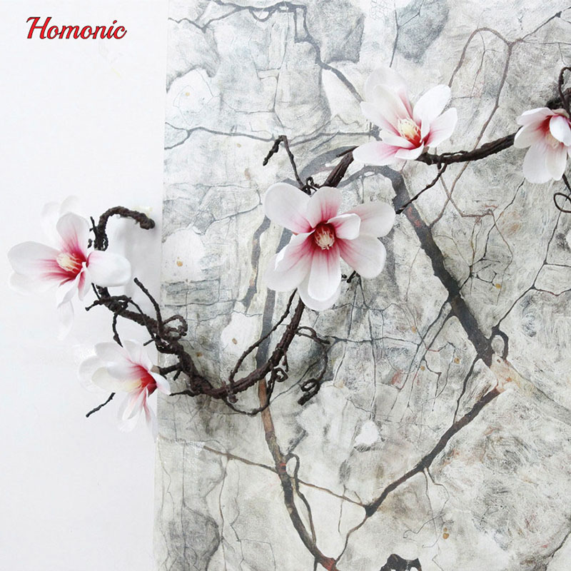 Kunstlill Magnolia Silk Fake Lilled Branch boutonniere Flores pulmade - Pühad ja peod - Foto 3
