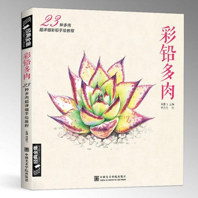 새로운 컬러 연필 기본 자습서 도서: 23 스타일 succulents 아트 북에 배우기