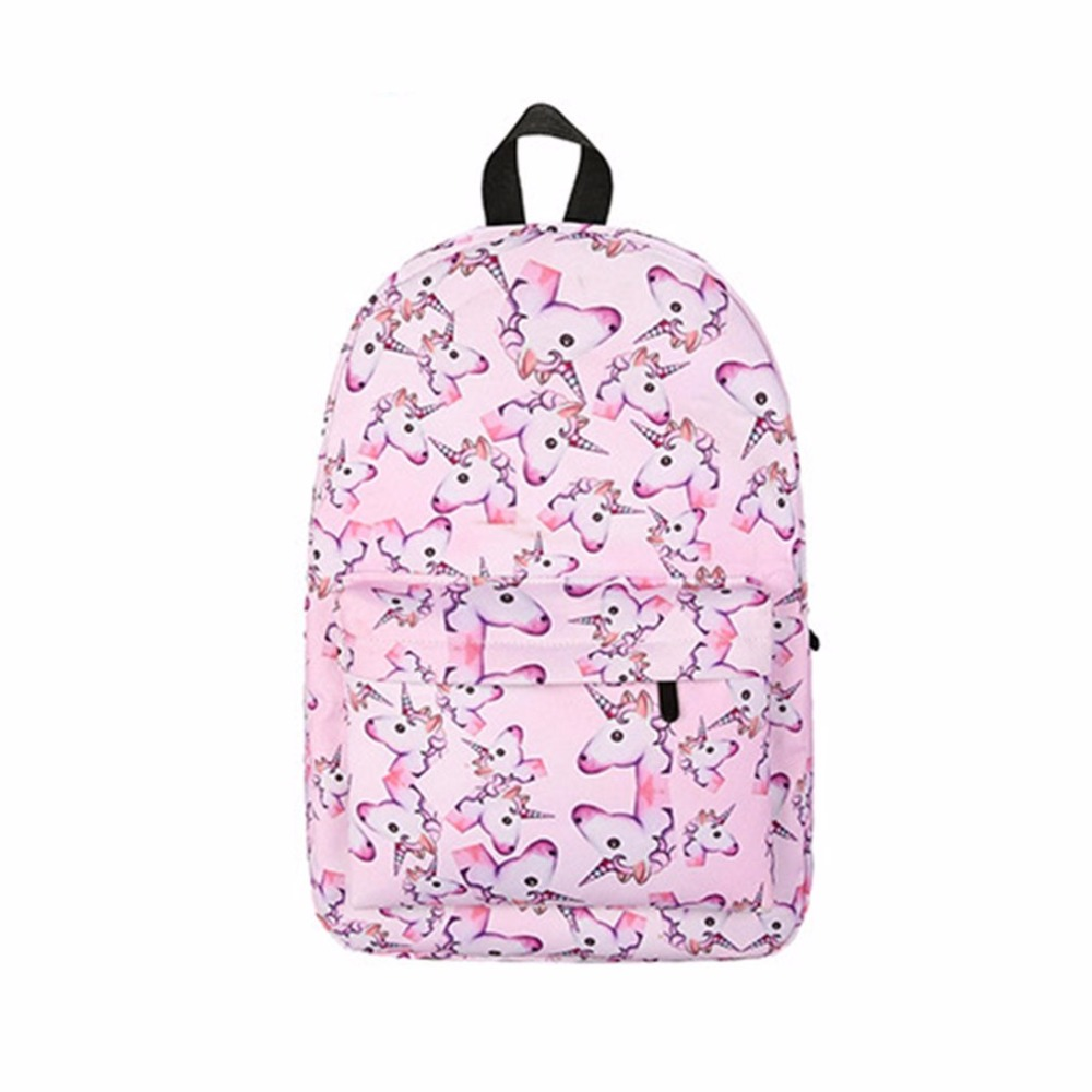Hot Unicorn 3D Printing Fashion Women Backpack Bag Travel Canvas Softback School Bag For 2018 Teenage Girls ZX218101