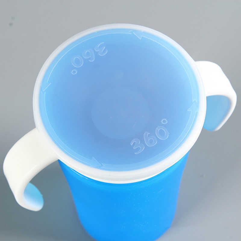 Младенческая 360 градусов вращающаяся чашка для тренировки напитков с двойной ручкой откидная Крышка герметичная детская безопасная чашка для кормления