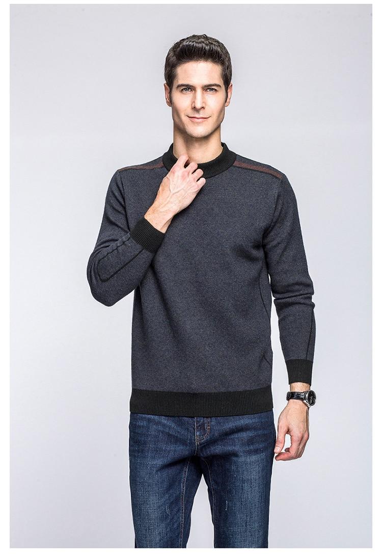 Alta calidad 100% suéter de lana para hombre de negocios sueter hombre gris jersey  para hombre casual chompas para hombre moda erkek kazajo 74a7ab6b093d