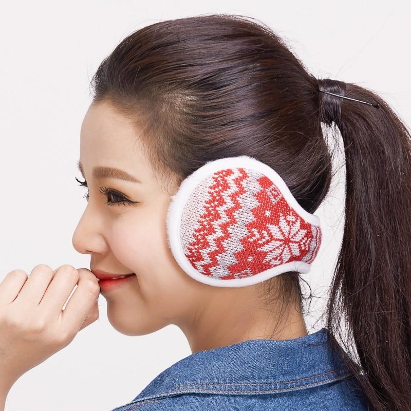 Winter Earmuffs  For Women Warm Wool Knitted Ear Warmer Foldable Faux Cashmere Ear Muff Ear Cover Bag Back Wear Earflap For Men
