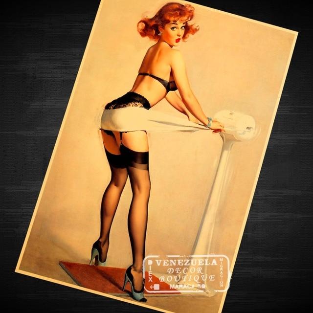 Bodybuilding Sexy Vintage Pin up Girl Poster Classic Retro Kraft ...