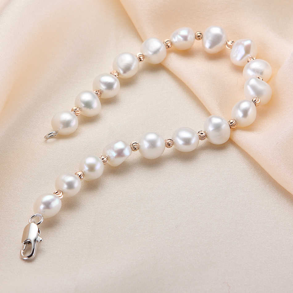 แฟชั่นการออกแบบ Baroque Pearl สร้อยข้อมือสำหรับสุภาพสตรี 7-8 มม.สีขาวน้ำจืดสร้อยข้อมือไข่มุก Handmade เครื่องประดับของขวัญขายส่ง FEIGE