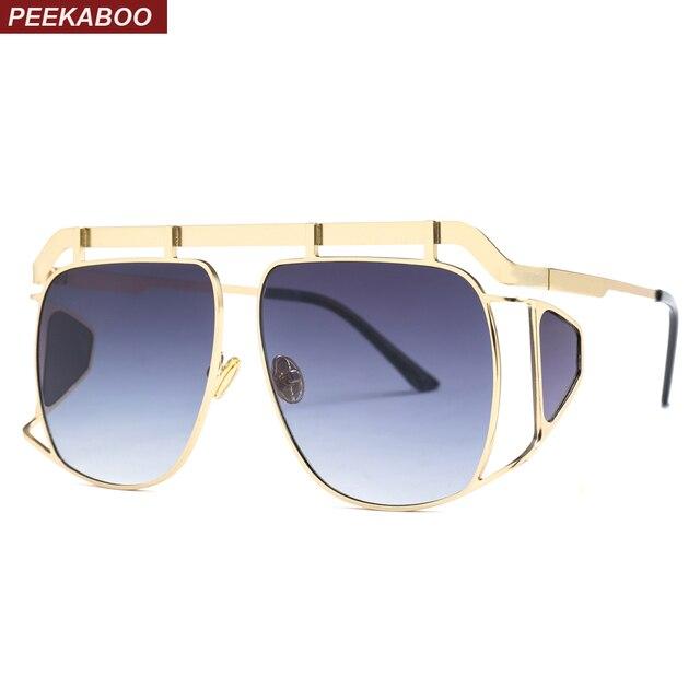 67cfcb82965 Peekaboo big square oversized sunglasses with side shields 2019 metal frame  women vintage sun glasses male gold uv400