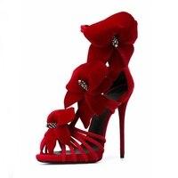 Sexy Red Flower Decor High Heel Women Sandals Cut out Thin Heels String Bead Dress Shoes Big Size 10 Summer High Heeled Sandals