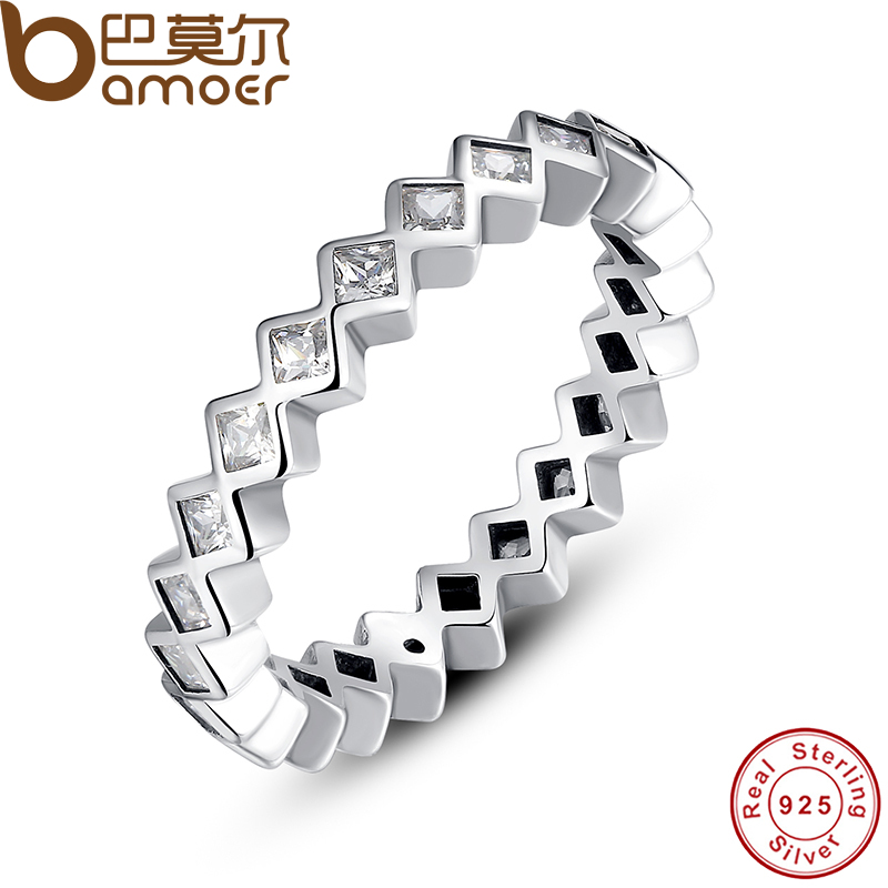 font b BAMOER b font 925 Sterling Silver Alluring Princess Stackable Finger Ring with Clear