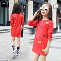 Retail New 2016 Baby Girl Cartoon Hello Cat Short T Shirt Girl's Cotton Summer T Shirt Kids KT Cat   Red  Black T-Shirt 5-15 Age