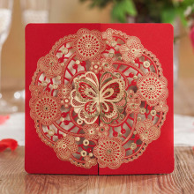 1pcs Sample Red Butterfly Hollow Laser Cut Wedding Invitations Card Personalized Custom Printable With & Envelope & Seals