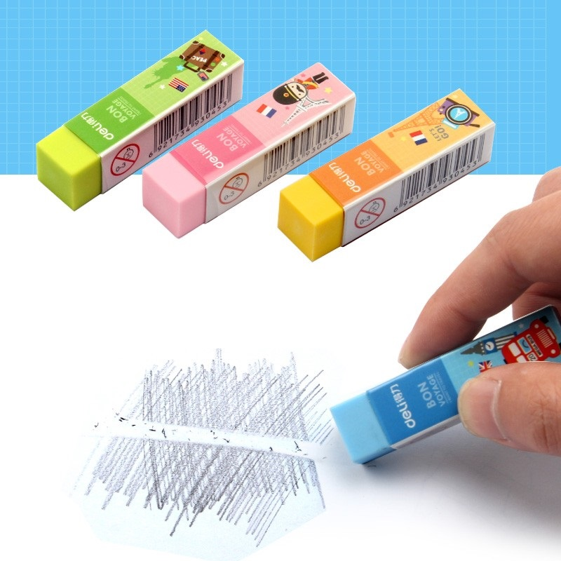 4Pcs Soft PVC 4B Erasers Cuboid Shaped Pencil Eraser Bright Colors Kids Students Clean Clear School Stationery Modify Deli 3045