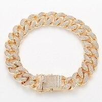 Nankiya Men Zirconia Curb Cuban Link Bracelet Hip hop Jewelry Luxury Iced Out CZ Copper Miami Chain Bracelet Husband Gift NB1193