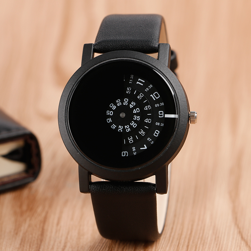 Special Design Turntable Dial Leather Band Strap All Black Men Wrist Watch Modern Simple Fashion Quartz Watches цена
