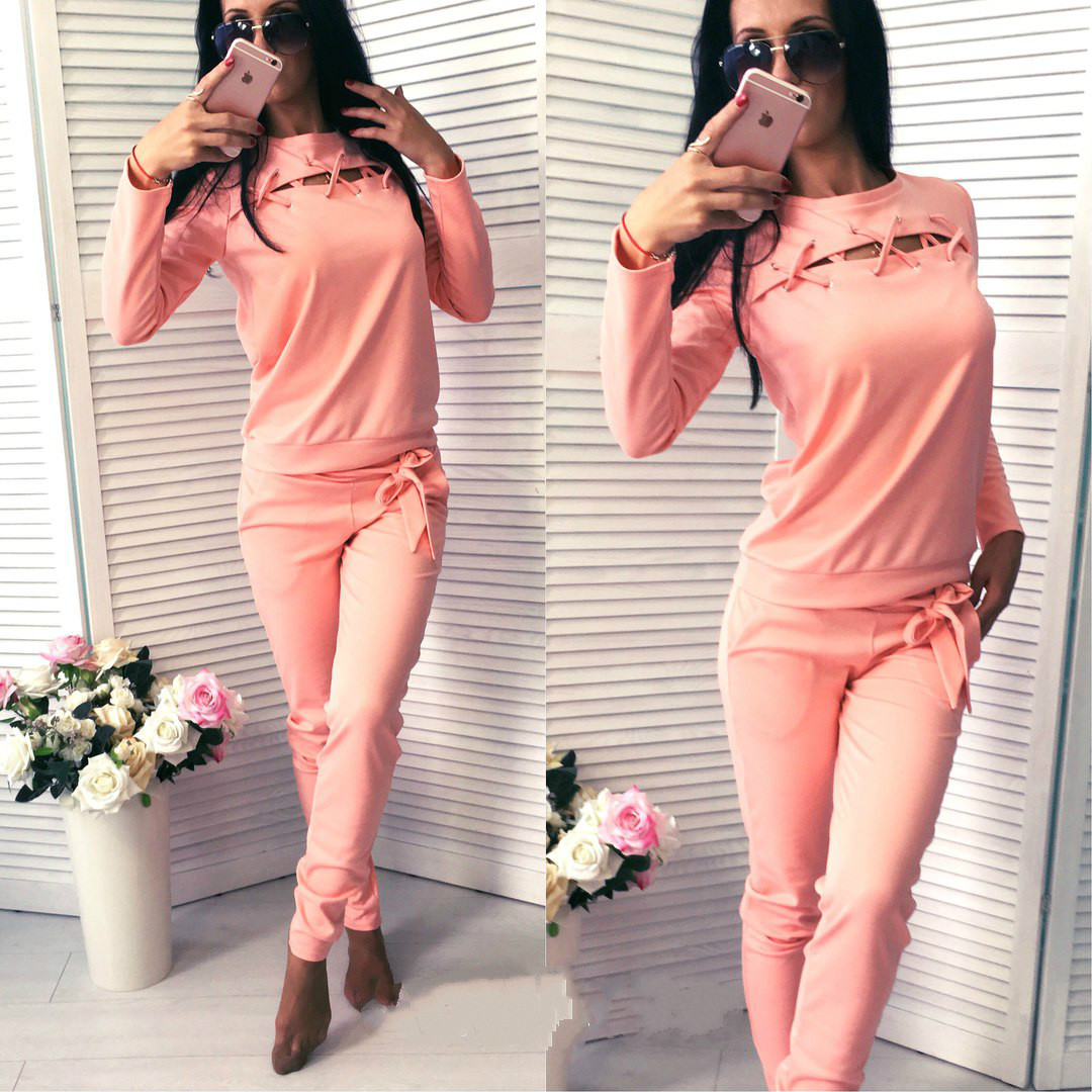 2017 New Hollow Out Long-sleeve Solid Women Sport Suit Tracksuit Sweatshirt And Pant 2 Pieces Women Clothing Running Sets