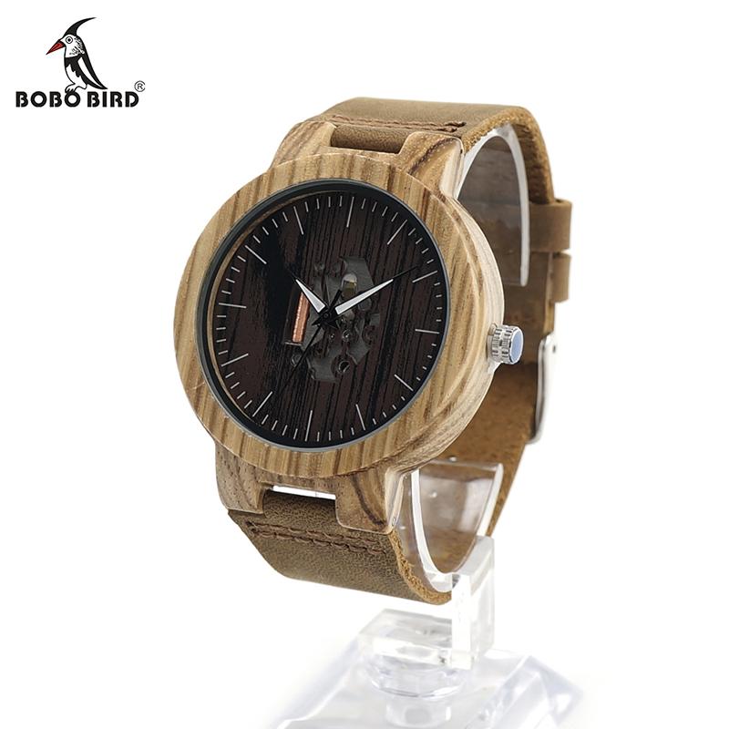 Prix pour Bobo bird h29 hommes zèbre bois montre en cuir véritable bande Cool Visible Quartz En Bois Montres pour Hommes Marque Designer En Bois montres