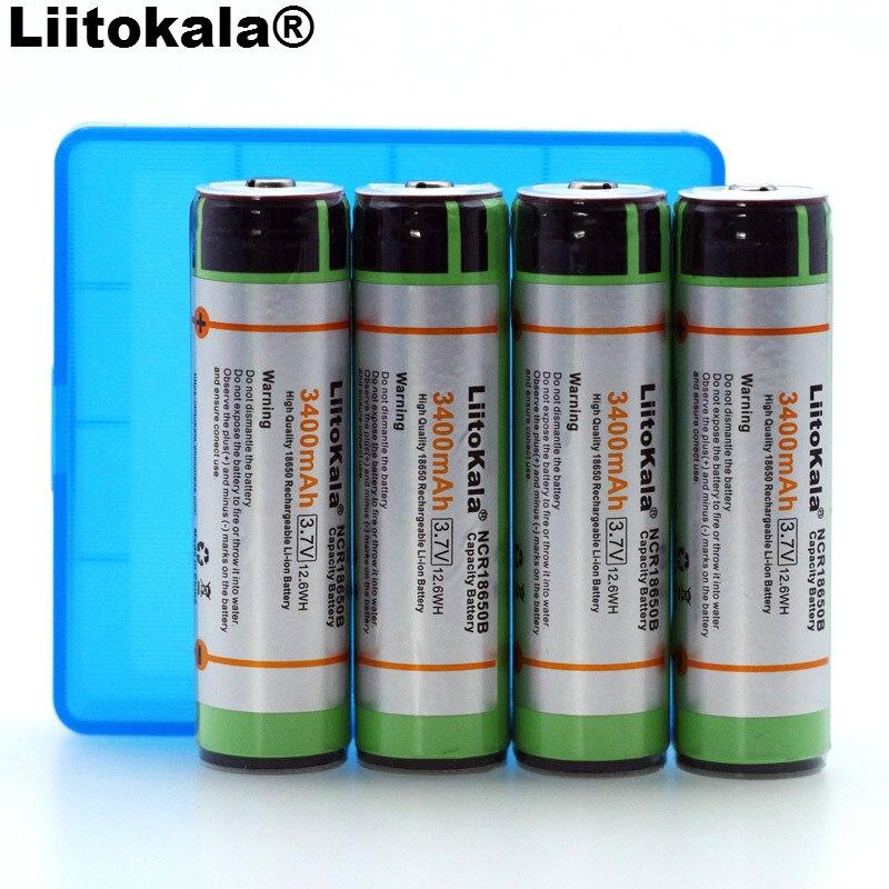 Liitokala-pilas recargables de li-lon con PCB, NCR18650B, 18650 mAh, 3400 V, caja de almacenamiento, 4 Uds.