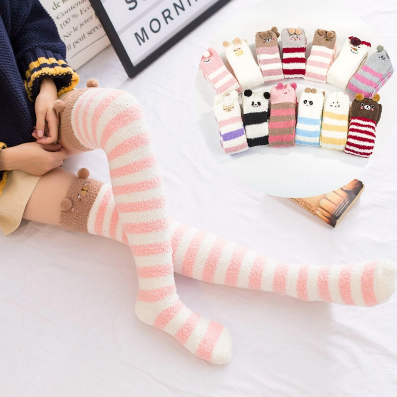 Soft Fluffy Fuzz Thick Coral Fleece Warm Stockings Women Lady Winter Floor Bed Ankle Cute Animal Stockings