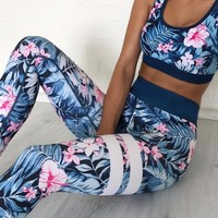 New Print Fitness Suit Women 2 Piece Set Fitness Clothing Sportswear Set High Waist Elastic Leggings