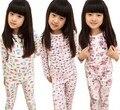 Продвижение 2016 весна осень дети девушки хлопка дна печатных медведь цветок дети пижамы комплект одежды