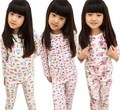 Promotion 2016 Spring Autumn  Children Girls cotton bottoming shirt printed bear flower kids pajamas clothing set