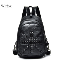 Hip-pop rivet backpack for women travel bag package collage book shell sheepskin leather casual patchwork female 's chest bag