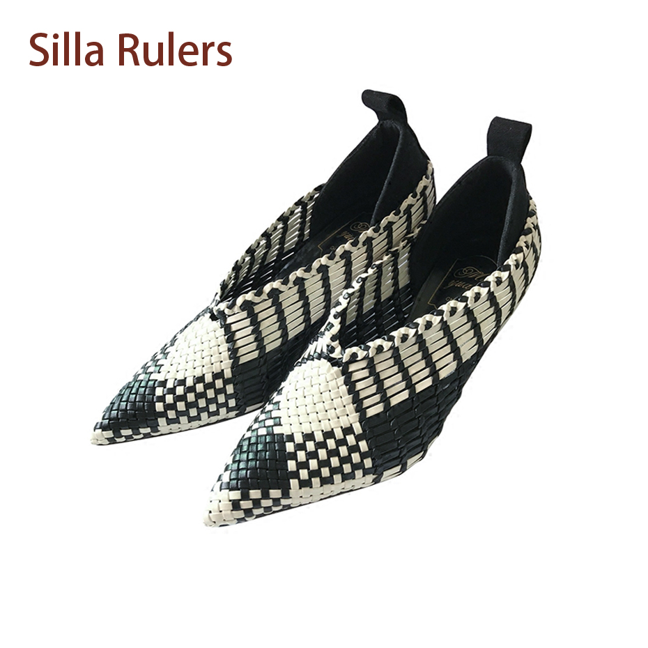 Silla Rulers Black Mix White Cross Weave Pumps Women Spring Autumn Shoes Pointed Toe Thin Heel Classice Dress Party Ladies Shoes