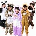 2015 otoño Suave del mono de Los Niños Manta de Cama de franela pijamas Animal pijamas de Los Cabritos Encapuchados Mameluco ropa de Dormir