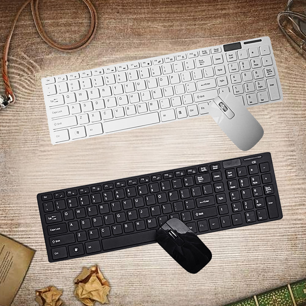 vococal slim bluetooth 2 4 g wireless keyboard and mouse set with usb receiver for pc laptop