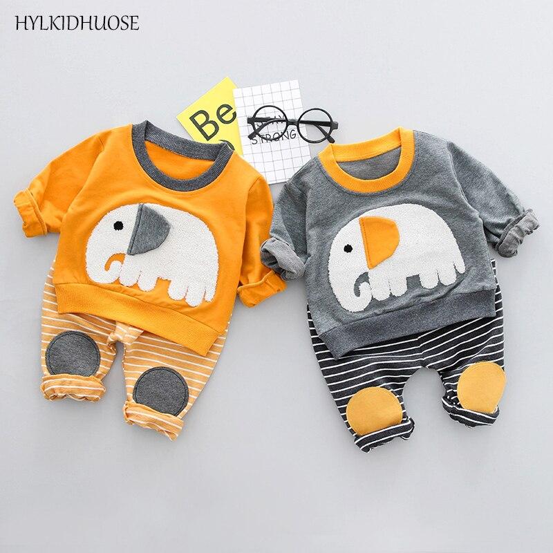 HYLKIDHUOSE 2018 Spring Infant Cotton Clothes Sets Baby Girls Boys Suits Cartoon T Shirt+Stripe Pants Casual Children Kids Suits
