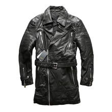 Read Description! Asian size excellent sheep leather winter jacket men's classic sheep leather pea coat A1701