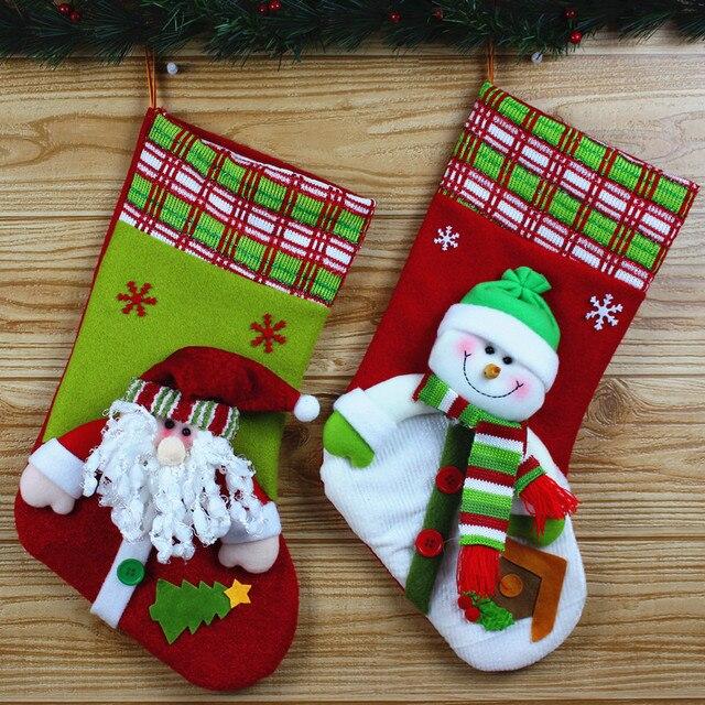High grade fabric Christmas snowman stockings 42 cm Christmas ...