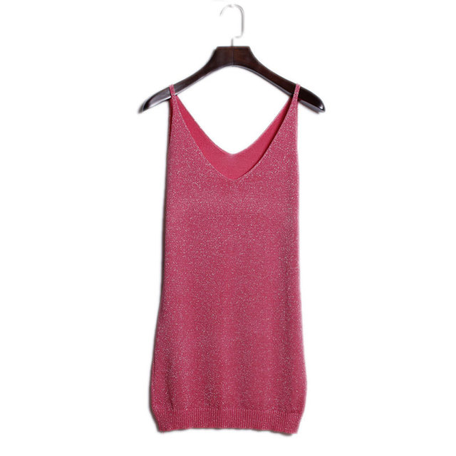 7 Color Long Summer Style Sleeveless Silver Wire Knitted Tank Tops Women's Camis Tank Top Summer Beachwear Tee Basic Shirt