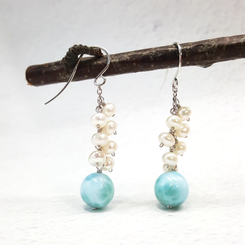 LiiJi Unique Natural Caribbean Blue Larimar Freshwater Pearl Real 925 Sterling Silver Dangle Earring For Women Gift